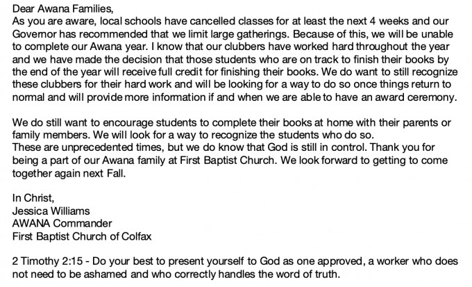 Awana Information of Cancelling